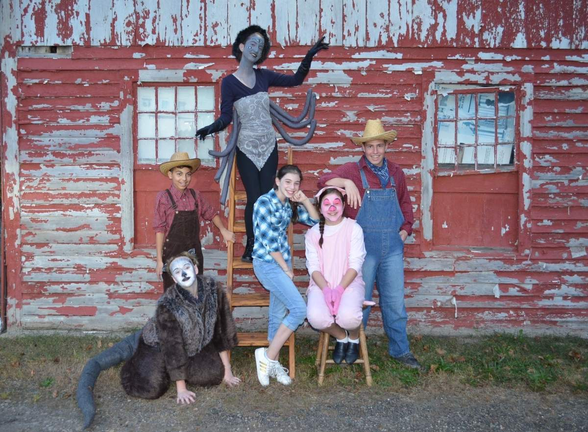 Clockwise from top are Charlotte's Web cast members Becca Dollahite of Madison (Charlotte), Devin Wilke of Clinton (Homer Zuckerman), Izzy Schreiner of Madison (Wilbur), Bella Fishman of Clinton (Fern), Becca Kavanaugh of Clinton (Templeton), Ethan Ayala of Madison (Lurvy). Not pictured are  opposite cast members Kiera Moloney of Madison (Charlotte), Dan Ayotte of Clinton (Homer Zuckerman), Will Curry of Clinton (Wilbur), Nora Stotz of Madison (Fern), Michael Galla of Madison (Lurvy). Photo courtesy of Kidz Connection