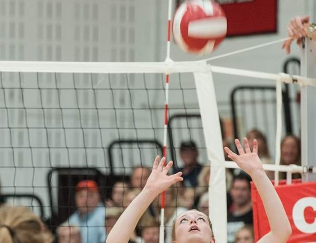 Kate Porter and the Cougars' volleyball squad are in the Class M State Tournament semifinals following wins over Granby Memorial and Valley Regional last week. Photo by Susan Lambert/The Source