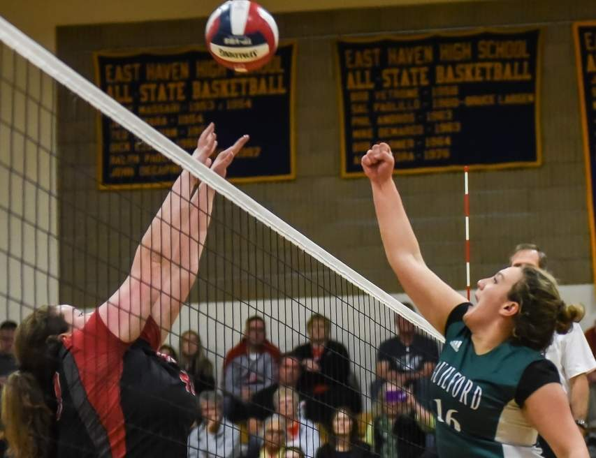 Sam Seneco and the Guilford volleyball team defeated Pomperaug and Farmington last week to reach the Class L State Tournament semifinals. Photo by Kelley Fryer/The Courier