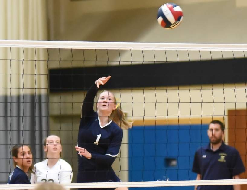 Kylie Schlottman and the East Haven volleyball team are on their way to the Class M State Tournament final after winning their first four matches in the bracket. Photo by Kelley Fryer/The Courier