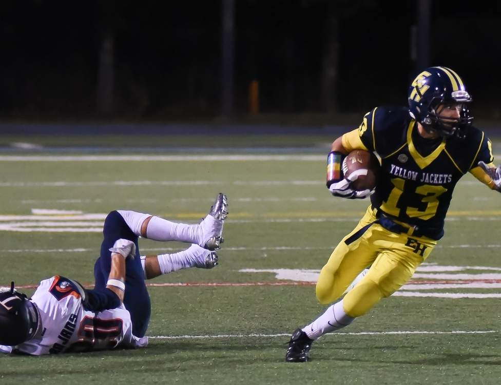 Michael Castellano and the East Haven football team took a 41-0 loss to Sheehan on Nov. 10 and now look forward to their annual Thanksgiving Day game against Branford. Photo by Kelley Fryer/The Courier