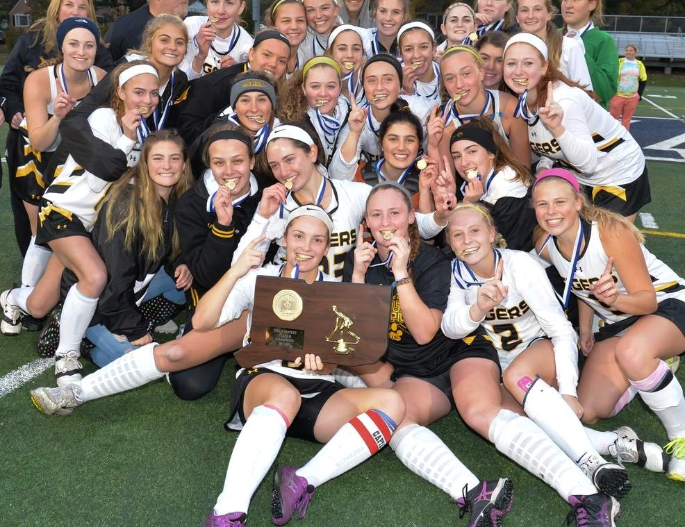 The Hand field hockey team claimed its second state title in program history by posting a 2-1 win over New Canaan in the Class M State Tournament final at Wethersfield High School on Nov. 18. Photo by Kelley Fryer/The Source