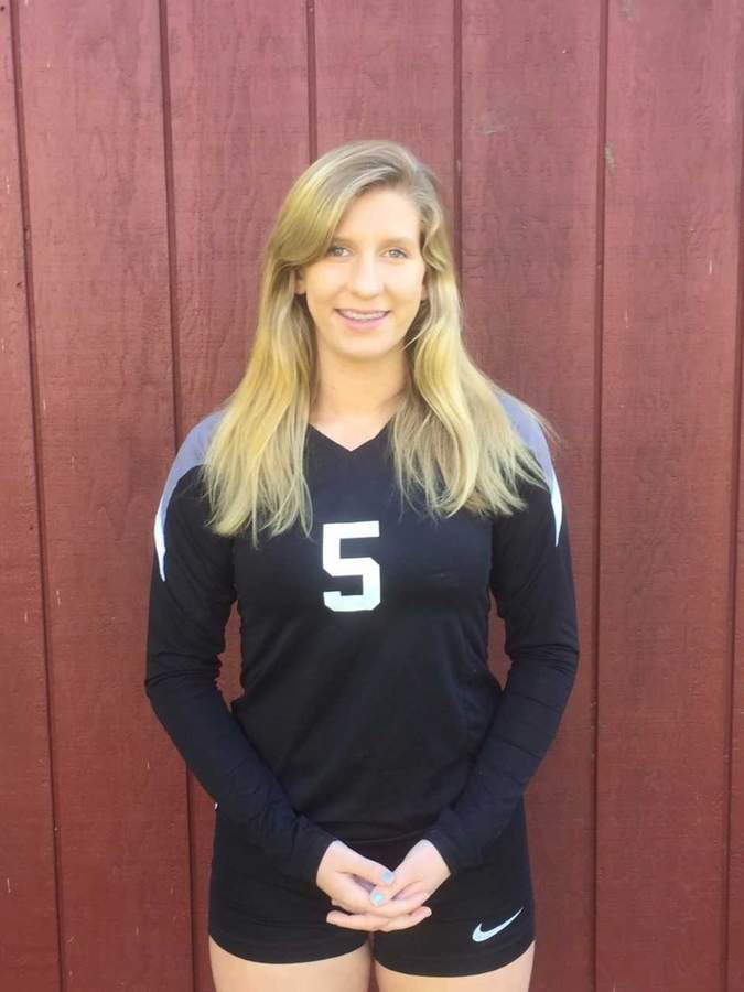 Valley volleyball senior captain Hannah Clark received All-Shoreline Conference Honorable Mention after handing out 635 assists and landing 90 service aces on the season. Photo courtesy of Hannah Clark