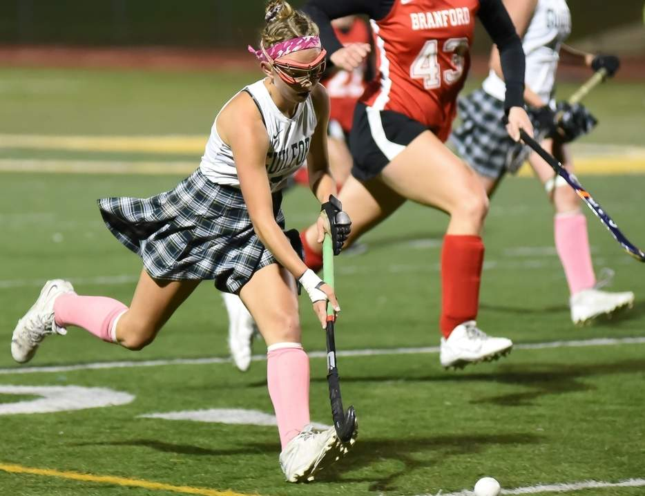 Senior forward Olivia Clarke was an All-SCC and All-State First Team honoree who helped the Guilford field hockey team win 16 games and reach the semifinal round of both the SCC and Class M State tournaments this fall. Photo by Kelley Fryer/The Courier