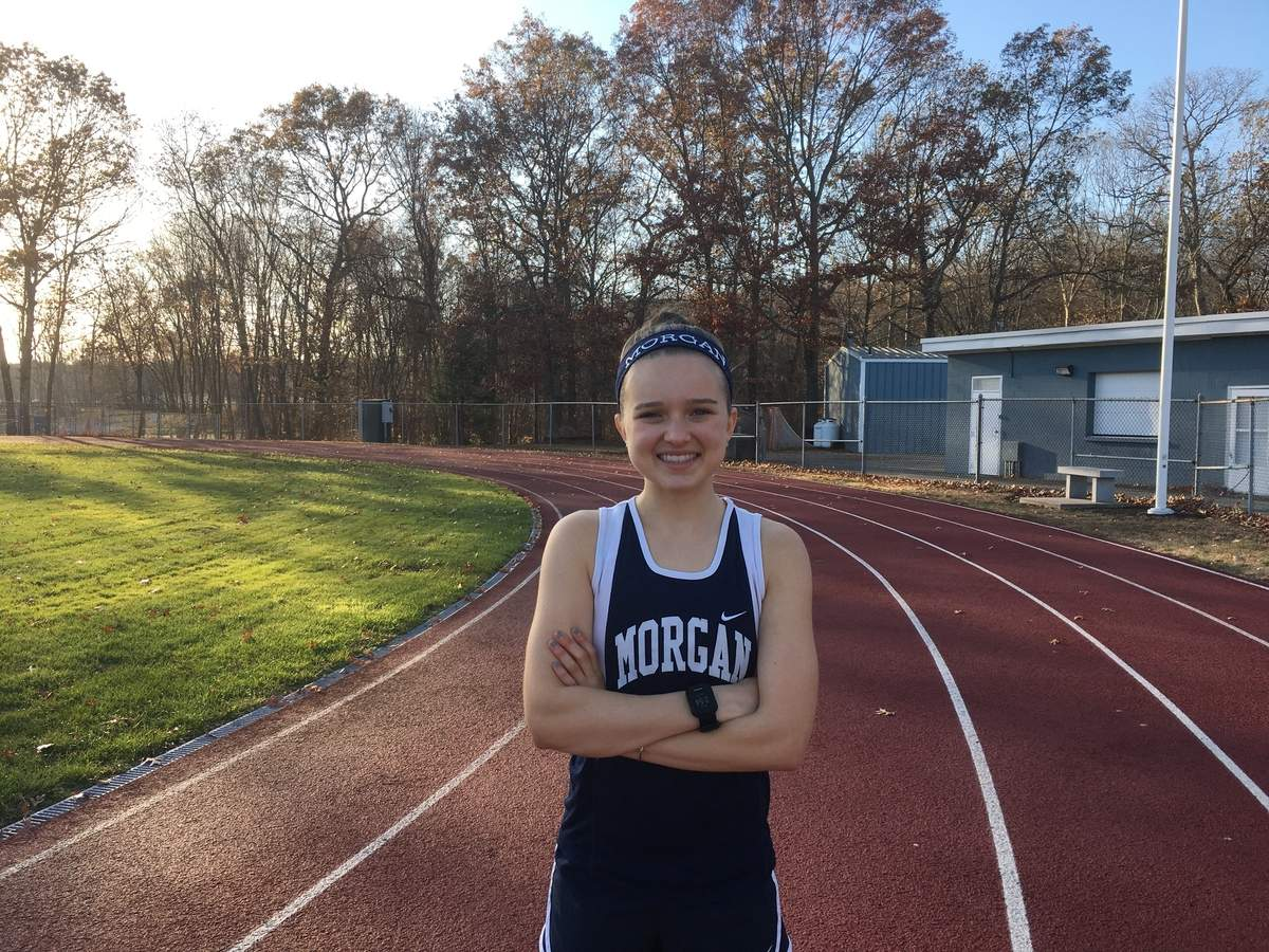 After winning the 3,200 at Shorelines and states in outdoor track last spring, Morgan senior Kate Daley earned All-Conference First Team and All-State recognition for the Huskies' girls' cross country squad this fall. Photo courtesy of Kate Daley