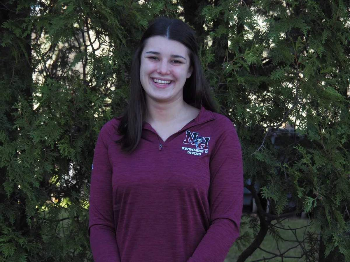Senior captain Laura Borrelli and the North Haven girls' swimming and diving team set multiple school records this fall, and Laura contributed to a pair of them with her performances in the 200 medley relay, plus the 200 freestyle relay. Photo courtesy of Laura Borrelli