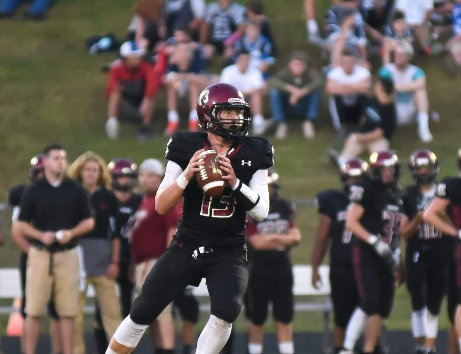Senior quarterback Mike Cullina threw for 261 yards and three touchdowns when the Valley-Old Lyme football team took a 34-21 defeat versus Rocky Hill in the Class S State Playoff quarterfinals on Nov. 28. Photo by Kelley Fryer/The Courier