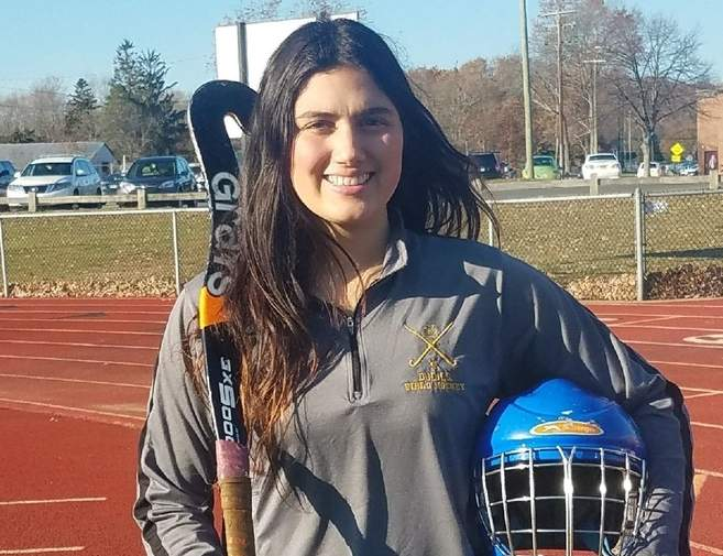 Senior goalkeeper Kylie Gargiulo earned All-Conference and All-State Second Team honors, while helping the Hand field hockey team win the SCC and Class M titles during the 2017 fall season. Photo courtesy of Kylie Gargiulo