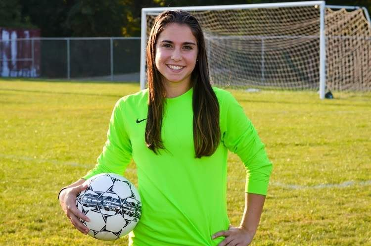 Angela Sanzari held things down in net for the past three seasons as the starting goalkeeper for the North Haven girls' soccer team. Angela won the Indians' MVP Award for her sophomore and junior seasons and helped North Haven make the State Tournament in each of her final two years with the team. Photo courtesy of Chris Kirby