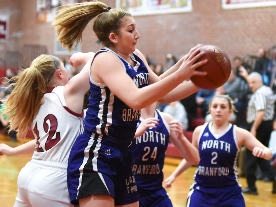 Morgan Violett stepped up in a big way to help the North Branford girls' basketball team begin its season with two wins. Photo by Kelley Fryer/The Sound