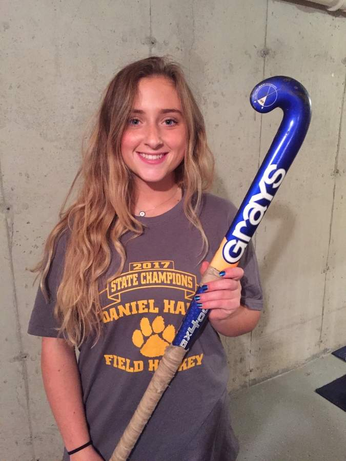 In only her second season as a field hockey player, senior center forward Glenna-Kate Gies scored six goals and added seven assists to help Hand field hockey have a double banner season. Photo courtesy of Glenna-Kate Gies