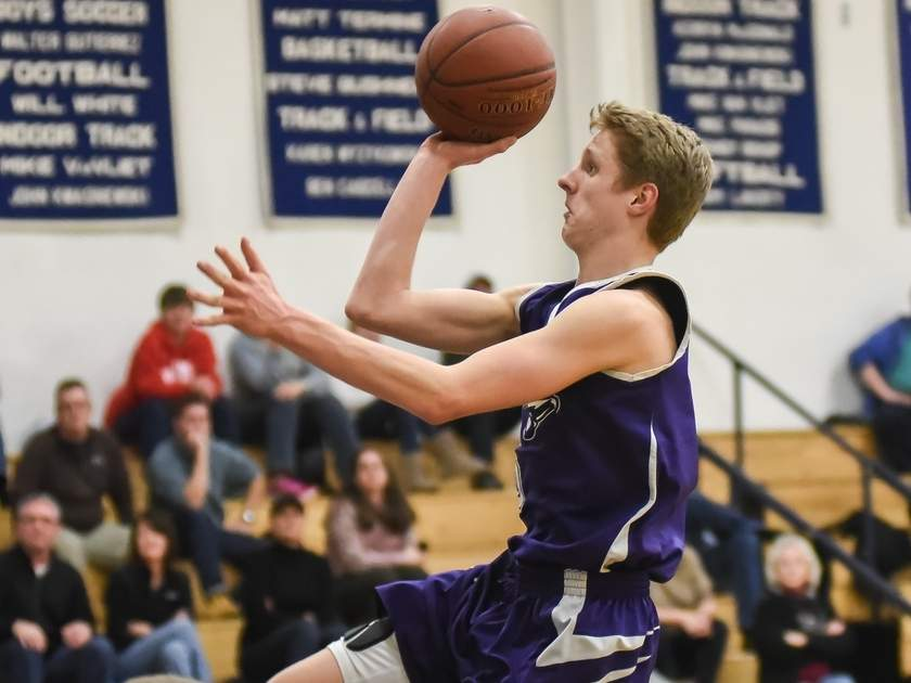 Junior Brett Lequire topped the 1,000-point mark for his career and was named the Shoreline Conference Player of the Year for the North Branford boys' basketball team this winter. Photo by Kelley Fryer/The Sound