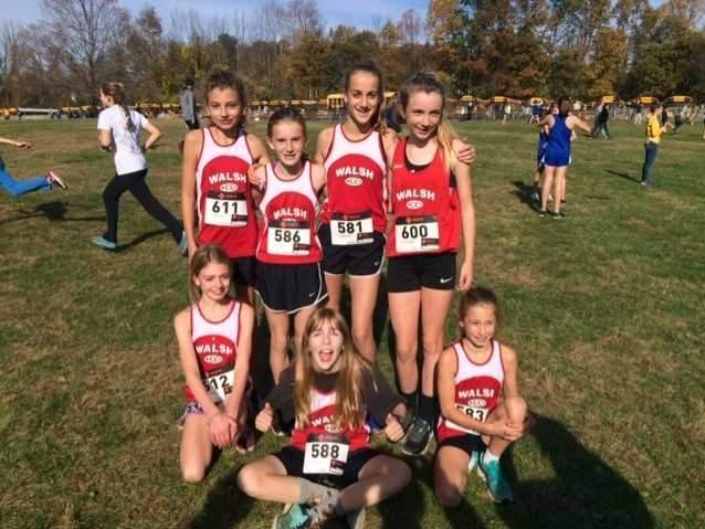 Pictured from the Walsh Intermediate School girls' cross country A team are (back row) Lila Wasiolek, Katie Harmon, Isabella Finta, and Anne Plunkett; (front row) Tess Wasiolek, Hannah Jackson, and Peyton Gaudreau. Photo courtesy of Rich Biondi