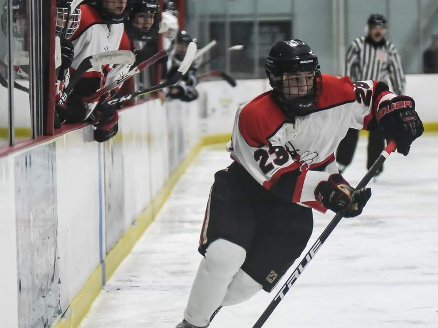 Max Bunton scored the game-winning goal in overtime when the Branford boys' ice hockey squad defeated Lyman Hall/Haddam-Killingworth/Coginchaug by a 6-5 final on Jan. 3. The Hornets went on to defeat Milford 6-2 to improve to 4-0-1 on the year. Photo by Kelley Fryer/The Sound