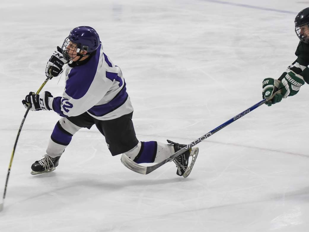 Nick Vecchio scored the only goal of the game when the North Branford boys' ice hockey team edged Cheshire by a 1-0 final on Jan. 20. Photo by Kelley Fryer/The Sound