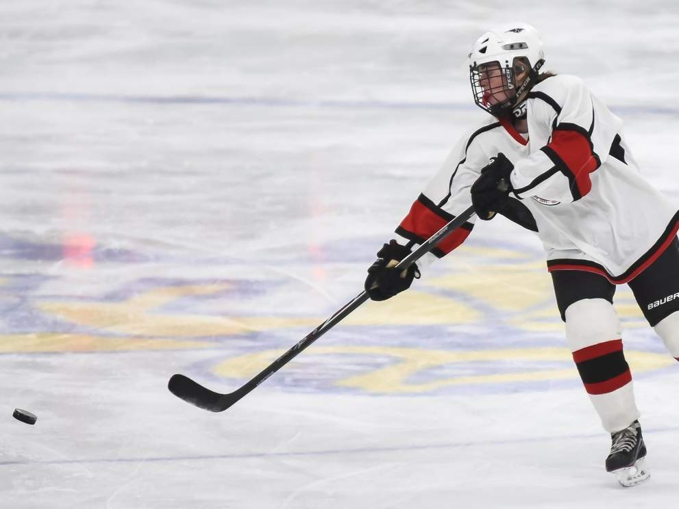 Branford student Sophia Caturano and the Wings' girls' ice hockey squad picked up three victories last week to raise their record to 8-3 on the season. Photo by Kelley Fryer/The Sound