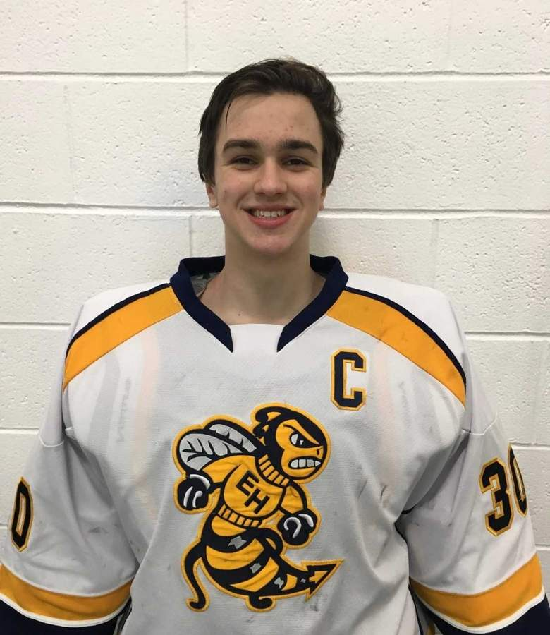 Senior captain Matt Twarowski is out to a great start as the goalie for the East Haven-Old Lyme-Old Saybrook-East Hampton boys' ice hockey team this winter. Photo courtesy of Matt Twarowski