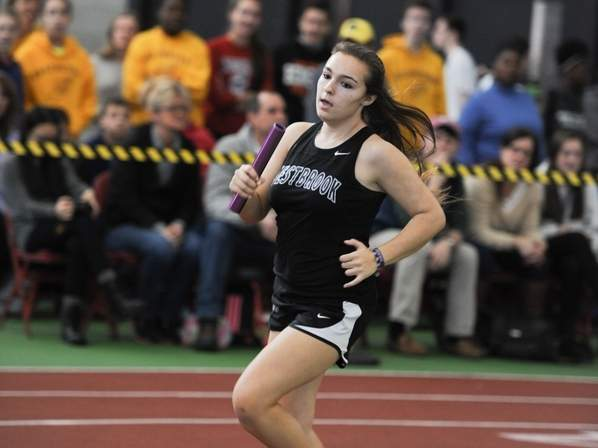 Westbrook track athlete Danyelle Engels is a finalist for Positive Coaching Alliance-New England Triple Impact Competitor scholarship and was honored for the accomplishment at the Harvard vs. Dartmouth men's basketball game on Jan. 6. Photo courtesy of Teg Cosgriff