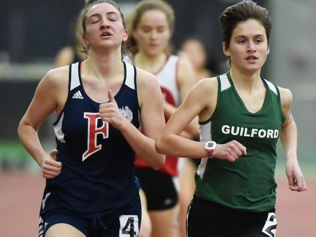 Meredith Bloss finished first in the 3,200 and was also second in both the 1,000 and 1,600 for the Guilford girls' indoor track team at the SCC East Sectional Championship on Jan. 24. The Indians finished second as a squad at the meet. Photo by Kelley Fryer/The Courier