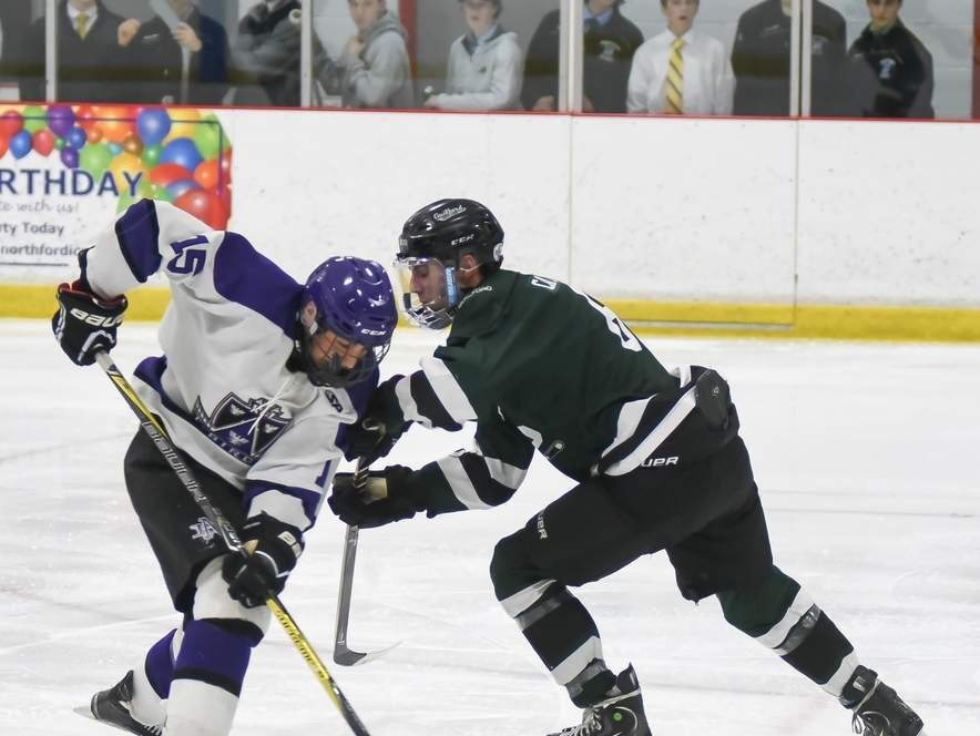 Matt Pedersen's hat trick helped the North Branford boys' ice hockey squad post a 6-3 win versus Branford last week. The Thunderbirds are now 9-2, have won their last seven games, and they also qualified for states last week. Photo by Kelley Fryer/The Sound