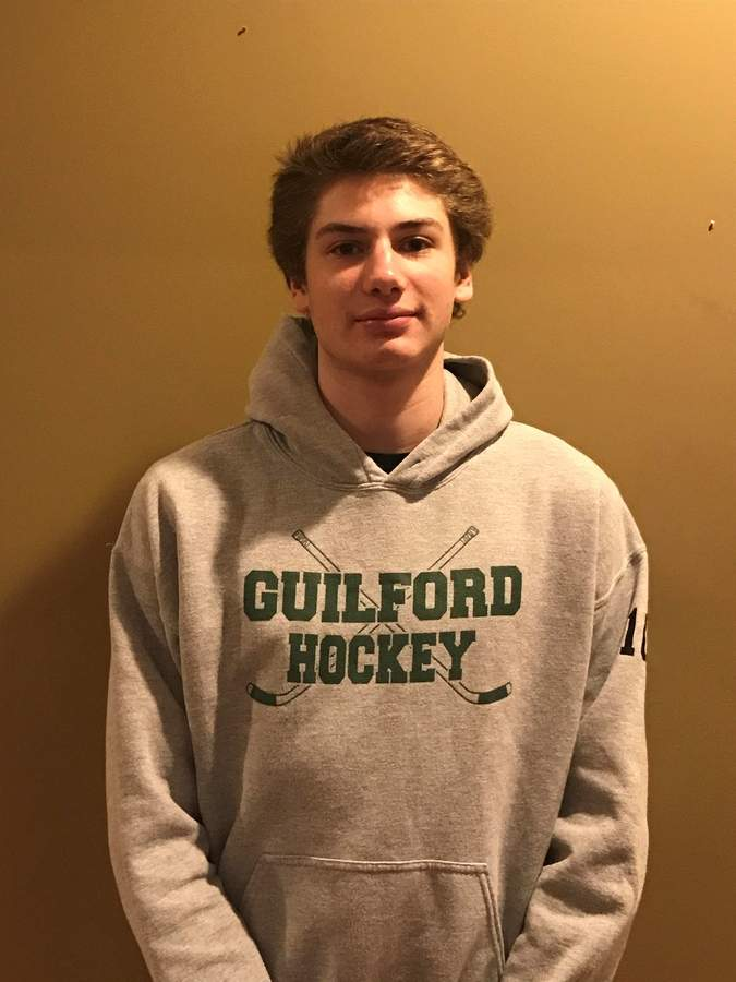 Junior forward and co-captain John DeLucia broke the school record for career points scored with the Guilford boys' ice hockey team on Jan. 15. John now has 158 career points for the Indians in his high-school hockey career. Photo courtesy of John DeLucia