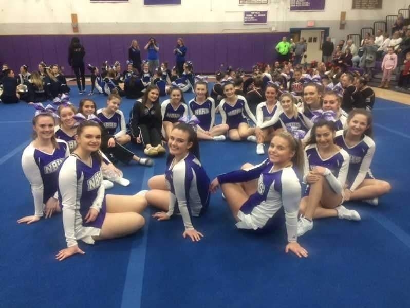 The North Branford cheerleading squad earned a fourth-place finish at the inaugural Shoreline Conference Championship. The members of the T-Birds include (front) Amanda Scell, Rachel Kwalek, Marisa D'Amico, Jessica Armin, Brianna Iuteri, and Annika Pearson; (back) Brooke Hammond, Kelsey Laucella, Rachel Vitarisi, Ariana Esposito, Kaley Oliverio, Nicole Cove, Rachel Helwig, Kayla Ronaldo, Alliyah Tropiano, Ava Smola, and Madelyn Humphrey. Photo courtesy of Marisa Laudano
