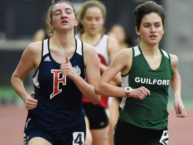 Meredith Bloss captured state titles in the 1,600 and 3,200 for the Guilford girls' indoor track team, which finished second as a squad at the Class L State Championship on Feb. 8. Photo by Kelley Fryer/The Courier