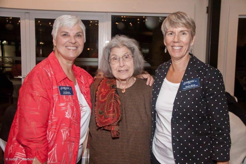 SARAH, Inc.'s new executive director, Denise Henry (far right) is guiding the agency into the future while honoring a legacy fostered by retired executive director Patricia Bourne (left) and dedicated lifelong supporters such as Diana Morris (center). Photo courtesy of SARAH, Inc.