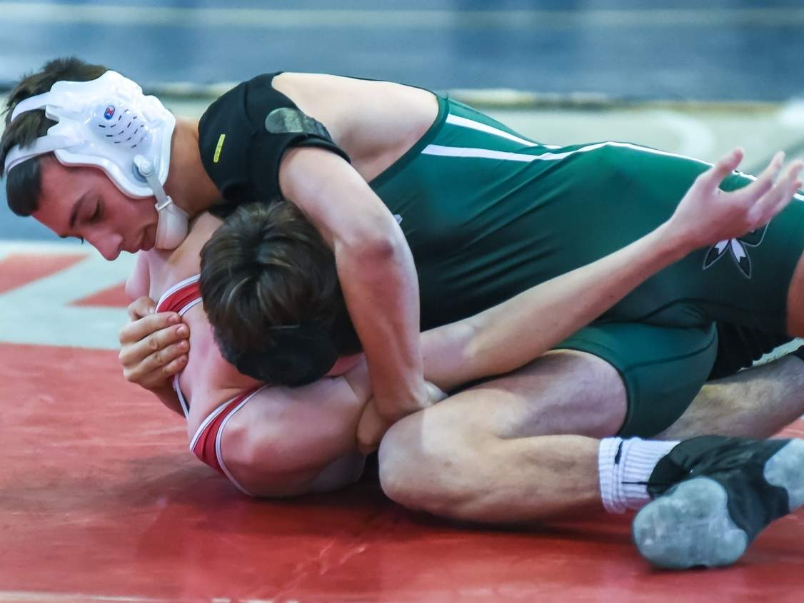 Vin Mascola was one of three second-place finishers for the Guilford wrestling team at the Class M State Championship last weekend. The Indians, who hosted the meet, finished in third place as a team. Photo by Kelley Fryer/The Courier