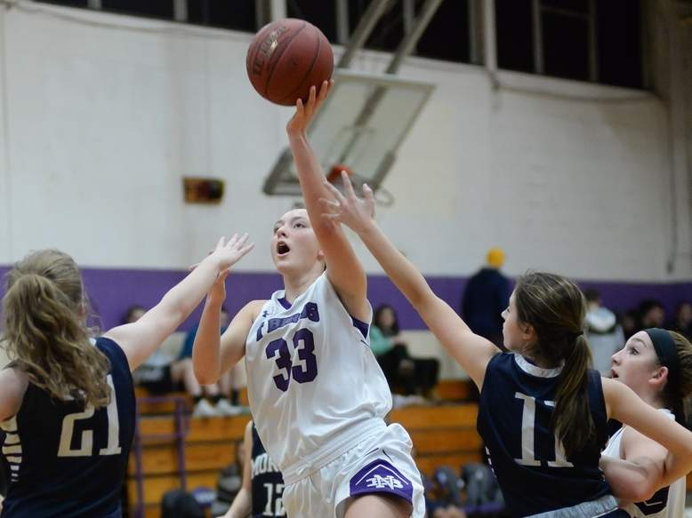 Jessie Kilburn and the North Branford girls' basketball team dropped a 61-54 decision to Old Lyme in the Shoreline Conference Tournament quarterfinals and now turn their attention toward the Class M State Tournament. Photo by Kelley Fryer/The Sound