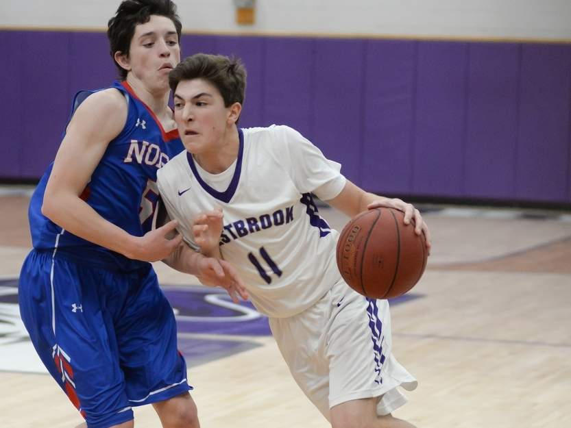 Seth Caslin and the Westbrook boys' basketball team dropped a 53-27 contest against Old Saybrook in their final game of the season last week. Photo by Kelley Fryer/Harbor News