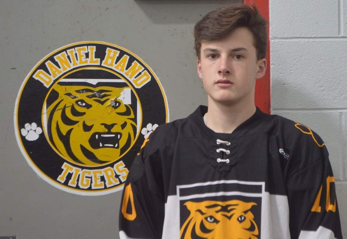 Griffin Fitzmaurice is centering the top line for the Tigers boys' ice hockey squad this winter. Griffin, a junior, has 12 goals to go with 12 assists on the season.  Photo courtesy of Craig Semple