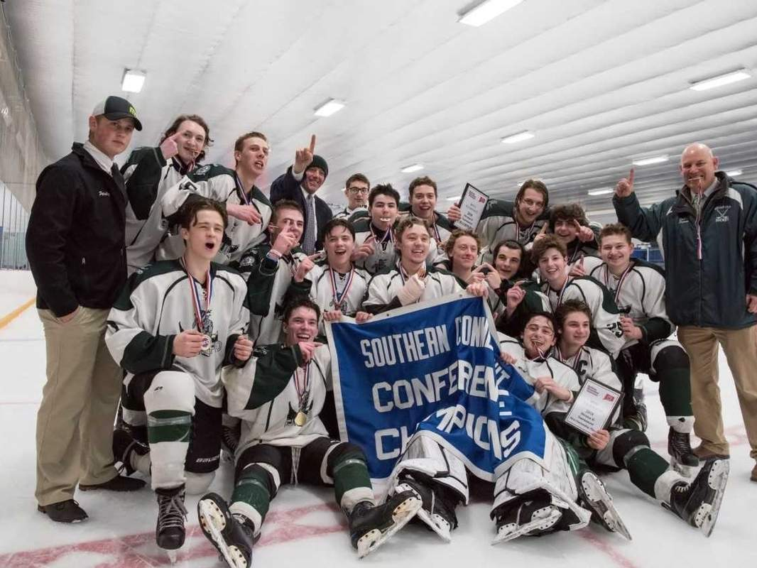 The Guilford boys' ice hockey team earned its second consecutive SCC/SWC Division II Tournament title by posting a 3-2 win over Watertown-Pomperaug in the league championship game at Bennett Rink in West Haven on March 3. Photo by Wesley Bunnell/The Courier
