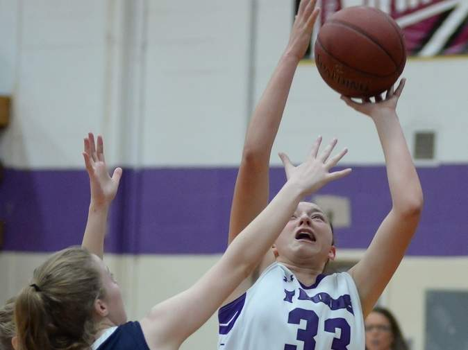 Jessie Kilburn scored 18 points when the North Branford girls' basketball team defeated Nonnewaug in the first round of the Class M State Tournament. The T-Birds later lost to No. 1 Northwestern in the second round to finish their campaign with a record of 14-9. Photo by Kelley Fryer/The Sound