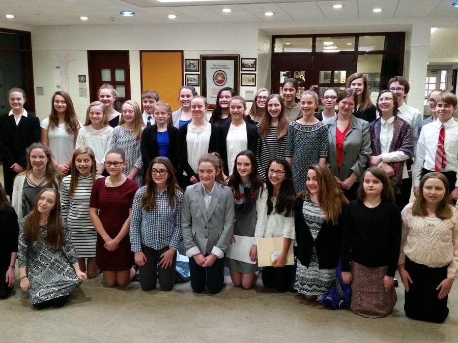 John Winthrop Middle School Mock Trial team members include, from left (front) Stephanie Sheehan and Kendra Cika; (second row) Grace Jacarusco, Abby Amara, Isabella Sacks, Caroline Haskins, Grace Jacarusco, Margaret Jacarusco, Ava Cunningham, Lily Glaski, Emma Brown, and Elaina Noble; (third row) Reagan Doyon, Raquel Farray, Olivia Baldwin, Grace Abderhalden, Lauren Valentino, Campbell Toth, Mia Stack, Madeline Rice, Sophie Scrivo, Anne Brenneman, Qualia Herrick, and Jack Whittaker; and (back row) Lily Grow, Matt Daniels, Katie Roberts, Jolie Edwards, Vivian Paradis, Isabelle Siegel, Zoe Cika, Frannie Liegus, Dexter Newman, Jordan Azzinaro, and Jade Hardgrove. Photo by S. Herrick
