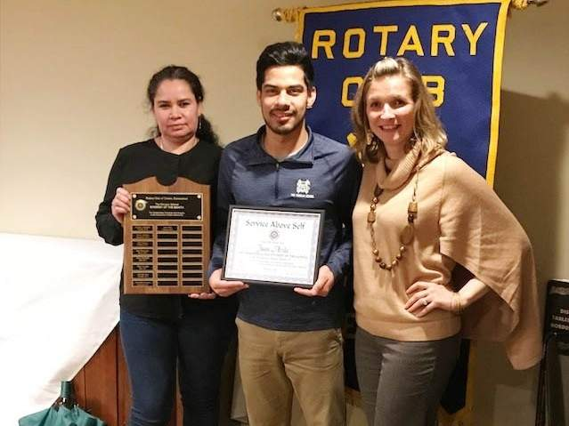 From left are Juan's, Clinton Rotary Club February Student of the Month Juan Avila (center) displays his certificate surrounded by his mother Maria Clinton Rotary Club (left) and nominating teacher Jessica Mularski. Photo courtesy of Marcia Bird