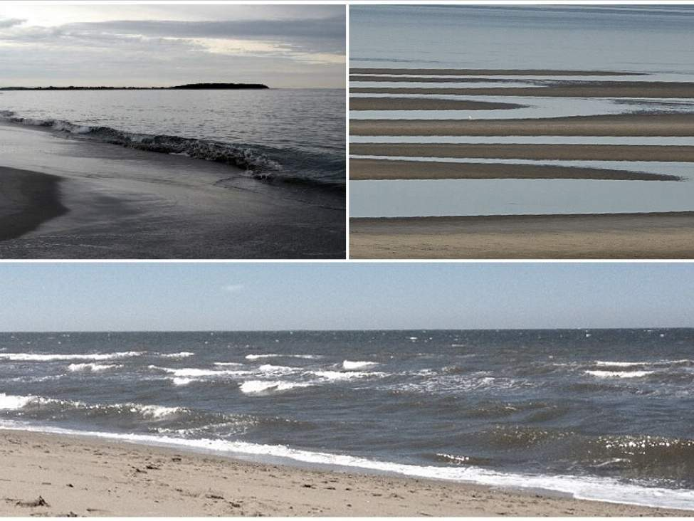 Changes that often occur to bays (top left), sandbars (top right), and beaches (bottom) during a major weather event. Photo illustration courtesy of Captain Morgan