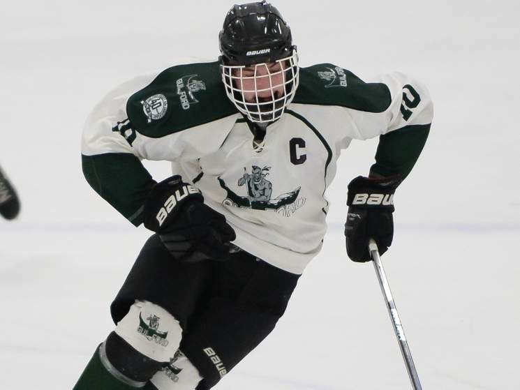 John DeLucia and the Guilford boys' ice hockey team dropped a 7-3 decision against Farmington Valley in the Division II State Tournament championship game at Ingalls Rink on March 16. Photo by Kelley Fryer/The Courier