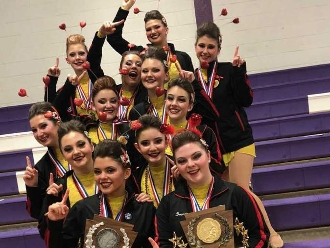 The Branford High School dance team took first place in the Jazz Division for the second straight season and third time overall at the New England Championship in Bellows Falls, Vermont on March 10. The Hornets also placed second in the Hip-Hop Division at the regional meet. Pictured from the team are (front row) Lily Milici and Melissa Brennan; (second row) Johnna Palmese and Samantha Esposito; (third row) Hannah Antonino, Bella Petrosino, and Layla Redente; (fourth row) Chloe Lourenco-Lang and Olivia Vitale; and (back row) Rachel LaBonte, Casey Allen, and Juliana Robinson. Photo courtesy of Jacqui Montano