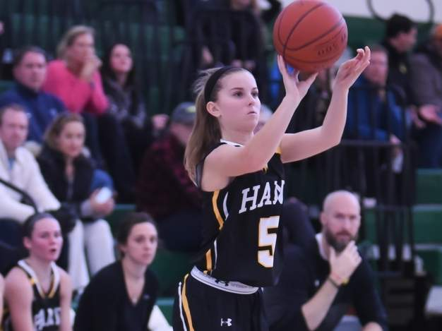 Senior co-captain Emma Sullivan notched 16 points in the Hand girls' basketball team's 84-53 win over Law in the Class L State Tournament quarterfinals on March 9, sealing the Tigers' second-straight trip to the state semifinals, where they lost to RHAM, 59-40. Photo by Kelley Fryer/The Source