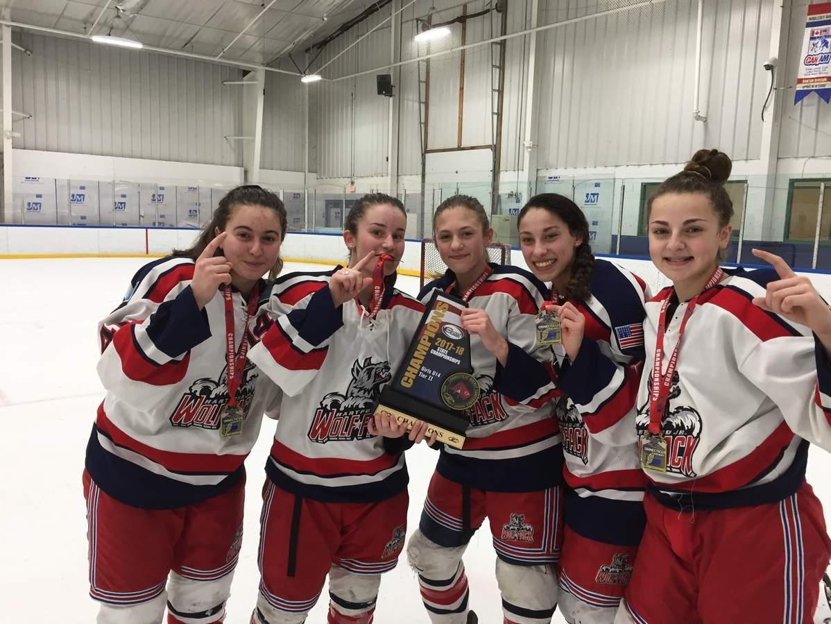 Five Guilford 8th-graders played a part in the Hartford Junior Lady Wolfpack girls' ice hockey team winning a U-14 division title at the Connecticut Hockey Conference State Tournament. Pictured are Sydney Miles, Ella Cafiero, Daniella Vickerman, Olivia Gill, and Madison Epke. Photo courtesy of Wendy Epke