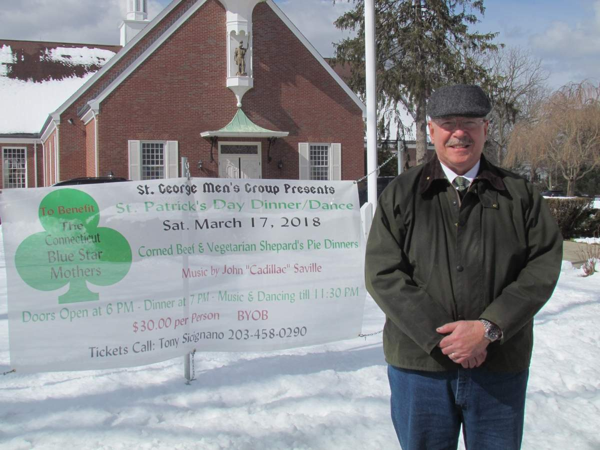 Randy McCartney likes to evoke a bit of his Irish ancestry to extend a warm invitation for the St. Patrick's Day Dinner Dance on Saturday, March 17 at St. George Church Hall. Proceeds benefit Connecticut Chapter of Blue Star Mothers.  Photo by Pam Johnson/Guilford Courier