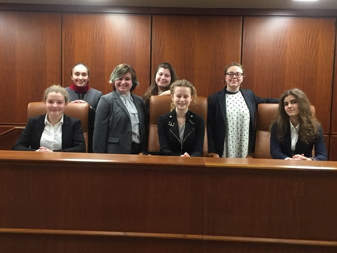 Valley Mock Trial team members (from left) Celia Robbins, Erin LoMonaco, Jenna LoMonaco, Maggie Dipierdomenico, Maeve Collins, Sophie Spaner, and Gabby Pitruzzello competed in the Elite 8 round of the State Mock Trial competition.  Photo courtesy of Bobbi Nidzgorski