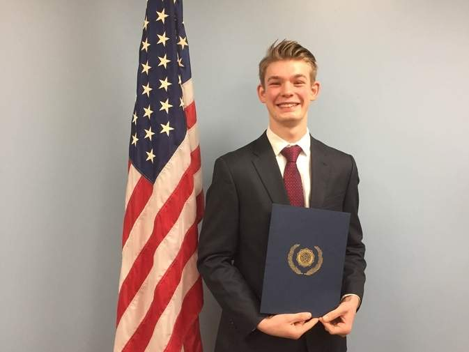 Valley Regional High School student Connor Riordan at the Westbrook Library American Legion Oratory competition.  Photo courtesy of Bobbi Nidzgorski