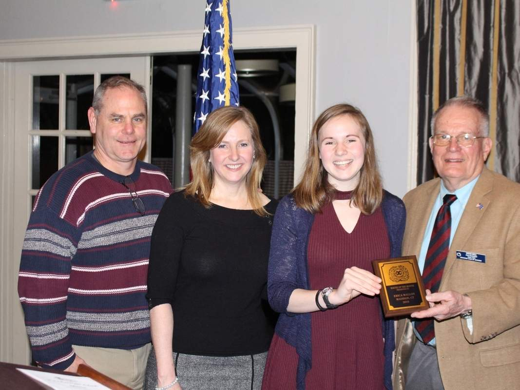 From left are Daniel Mallon, Sharon Mallon, Exchange Club Youth of the Month Erica Mallon, and Youth of the Month Program Chairman David Bell. Photo courtesy of Ashton Edwards