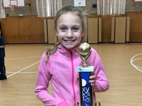 Nine year-old Westbrook resident Anna Landino will represent her hometown in the State Finals of the Knights of Columbus Free Throw Contest on Saturday, April 8. Photo courtesy of Kelly Landino