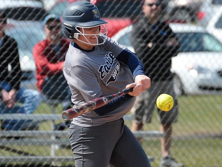 Senior captain Jessica Stettinger is looking to supply even more power for the East Haven softball team this spring. A season ago, she crushed seven home runs for the Yellowjackets, who are facing Foran in their season opener and will play Amity for their home opener. Photo by Kelley Fryer/The Courier
