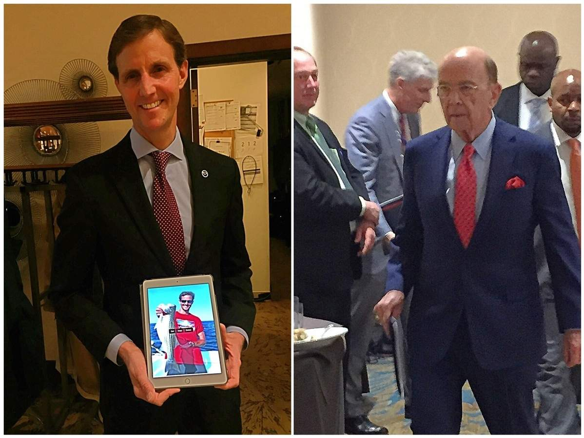 Assistant Secretary of Commerce and Rear Admiral Timothy Gallaudet (left) and Secretary of Commerce Wilbur Ross (right) addressed the Recreational Fisheries Summit in Arlington, Virginia last weekend. Photo illustration courtesy of Captain Morgan