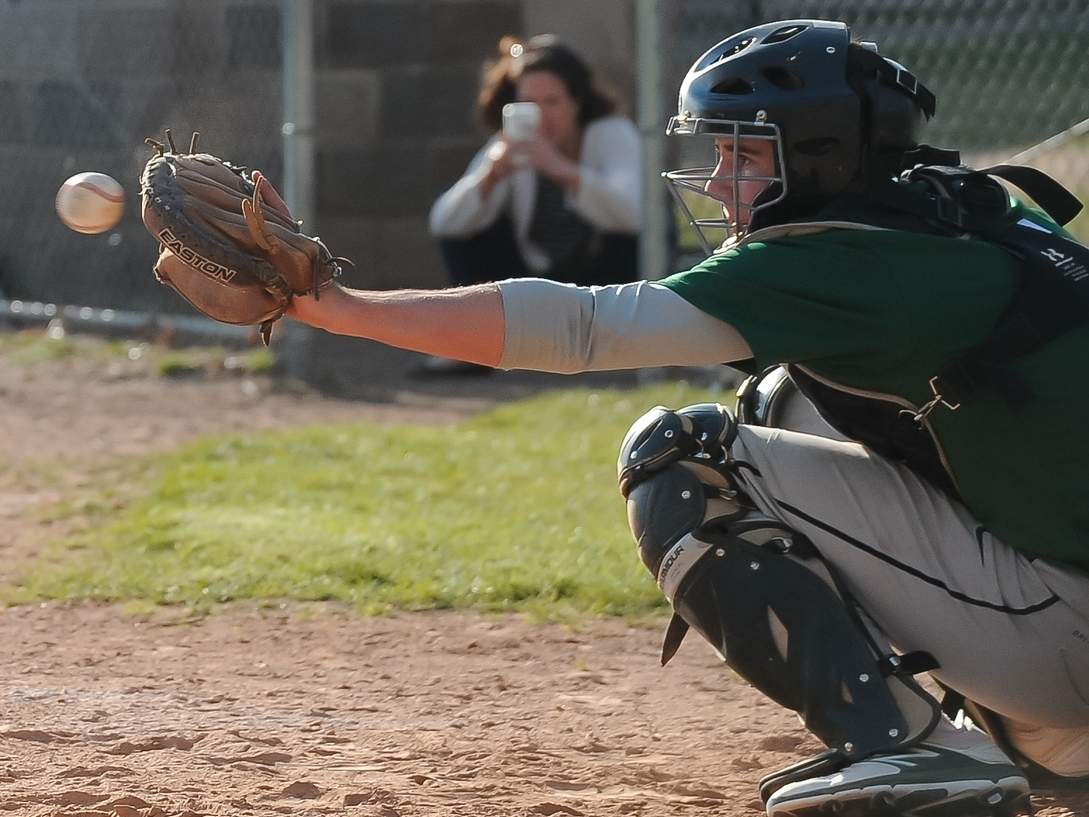 Senior captain catcher Matt Donlan is one of 12 seniors on the Guilford baseball team, which is looking to go deeper in states this year following a quarterfinal berth in 2017. Photo by Kelley Fryer/The Courier