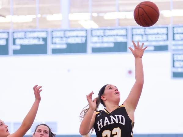 Senior captain guard Gabby Egidio was an All-SCC First Team honoree for the Hand girls' basketball team, which won 22 games and made the semifinals of both the SCC and Class L Tournaments this winter. Photo by Kelley Fryer/The Source